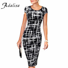 Summer Dress Slim Women Office Pencil Dress Short Sleeve Printed Bodycon Tunic Dress Tight Formal Midi Dresses Work Wear