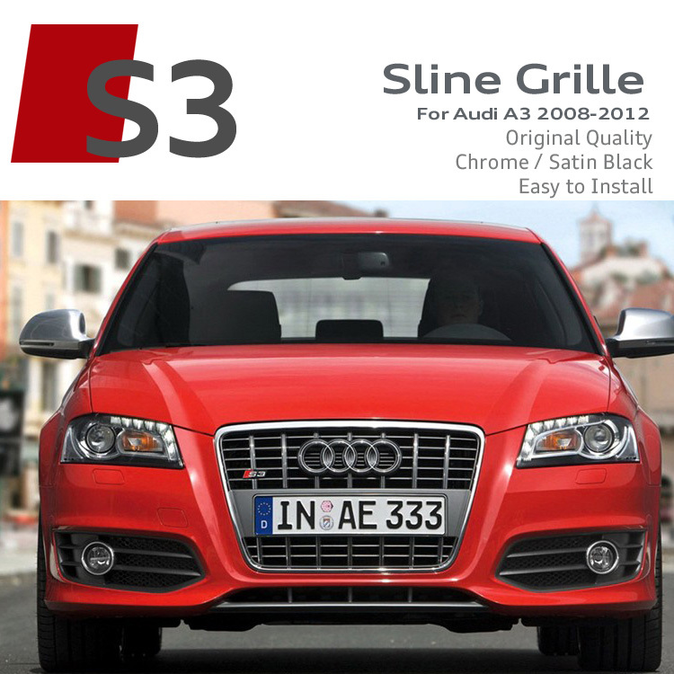 Satin Black Chrome Frame S3 Front Grille ABS Car Bumper Grilles RS Sline S line Grills Race Bumper Grille For Audi A3 2007-2012(China (Mainland))