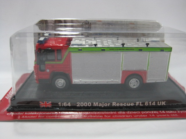1:64 UK 2000 Major Rescue FL 614 uk Alloy Fire truck Model Toy Free shipping(China (Mainland))