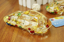 Strange new toys DIY Toy Cars Oil Crystal Pen Car Heart Coins Gift Pen Home Furnishing Student Car Accessories Office Decoration(China (Mainland))