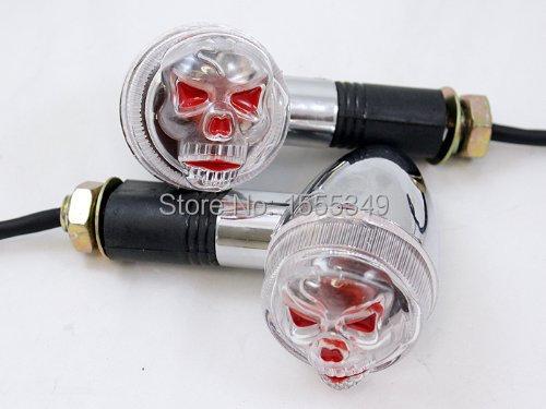 Chrome Bullet Skull LED Turn Signal Light Indicator For Harley Kawasaki Suzuki Yamaha Honda(China (Mainland))