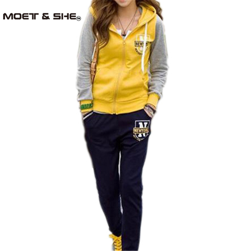 Yellow Vintage 2013 New Womens Korean Hooded Cardigan+Long Pant Suit 1 Set=2 Pieces Letter Sport Clothes wholesale M-LОдежда и ак�е��уары<br><br><br>Aliexpress