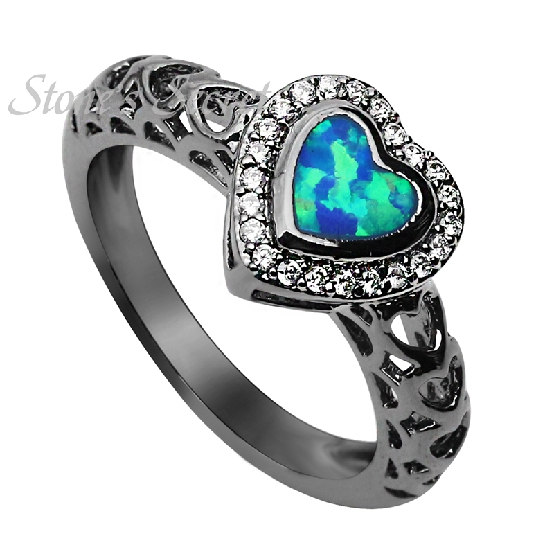 Simple Heart Shaped Blue Opal Ring Unisex Finger Ring Hot Sale Opal Jewelry Fashion Party Cocktail Ring for Women Love Gift(China (Mainland))
