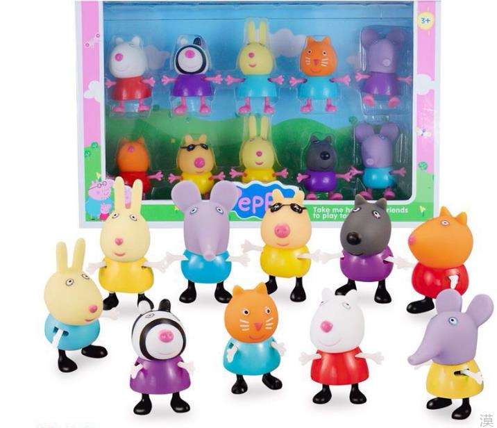 New Arrival 2016 Peppa Pig Friends 10pcs/Lot Suzy Emily Danny Rebacca The Pigs Figure Toys Gifts For Kids support drop shipping(China (Mainland))