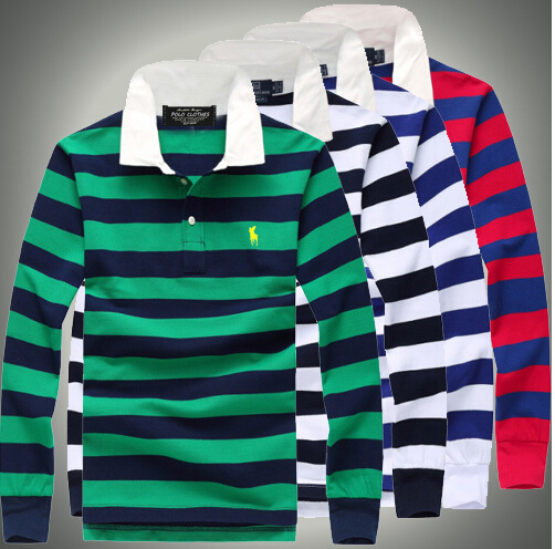 Fast Delivery!2014 Logo For Mens Casual long sleeve polo Shirts Men's cotton Polos Tops & Tees striped casual shirts(China (Mainland))