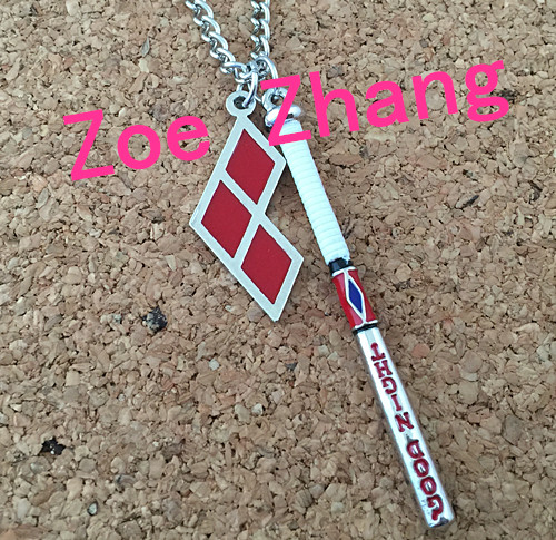 Freeshipping a lot 1pcs Suicide Squad Harley Quinn baseball bat necklace HH02<br><br>Aliexpress