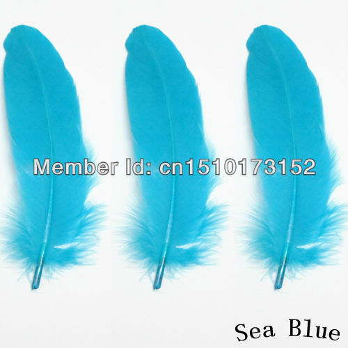 20s DIY Sea Blue Hard Rod Goose feather 5-7inches/13-18cm Crafts DP-4 - TiTi Feather Market store