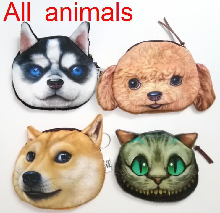 Coin Purse All kinds of animal pattern latest designer unusual dog purse factory wholesale dog fabric pouch children's purse(China (Mainland))