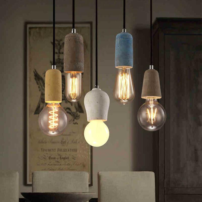 Retro Loft Cement Pendant Lights Single Head Vintage Industrial Pendant Lamp Nordic Restaurant Hanging Lights Fixture luminaires(China (Mainland))
