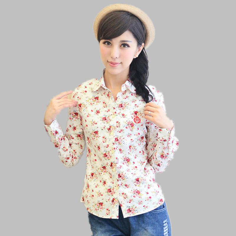 3 colors 2015 Autumn Fashion women work wear vintage floral print cotton blouse long sleeve elegant Shirts casual slim tops S-XL - Shanghai Golden fashion Trade Co., Ltd. store
