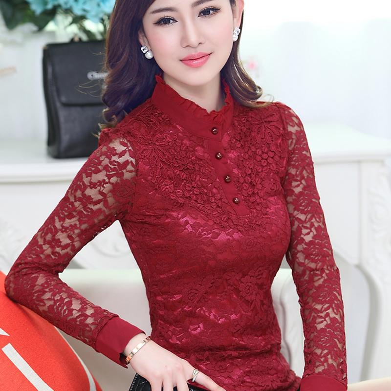 2015 spring flower cutout stand collar lace shirt female pullover basic shirt slim shirt long-sleeve top(China (Mainland))