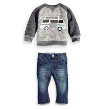 Kids Boys Long Sleeve Pullover Shirt + Jeans Denim Trousers 2016 Spring Kids Clothes, Casual Boys Clothing Set(China (Mainland))