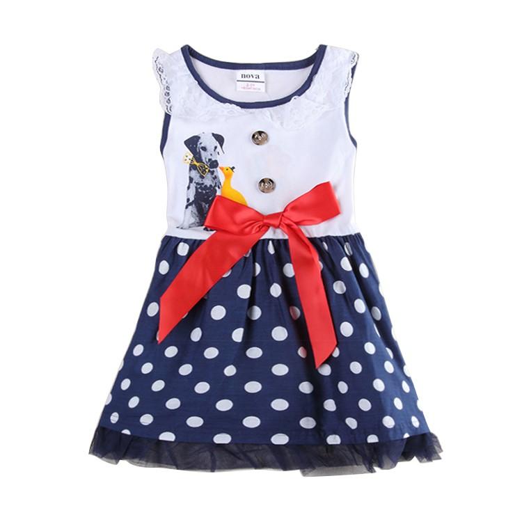 Girls sleeveless dresses Nova children clothes summer cotton girl dress nova kids animal print baby girl frocks clothes kid wear(China (Mainland))