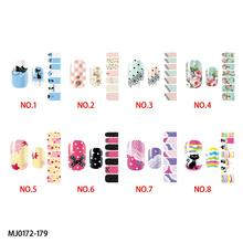 Colorful beautiful lovely cats and flowers patterns nail wraps sticker-full self adhesive polish sticker & decals High quality