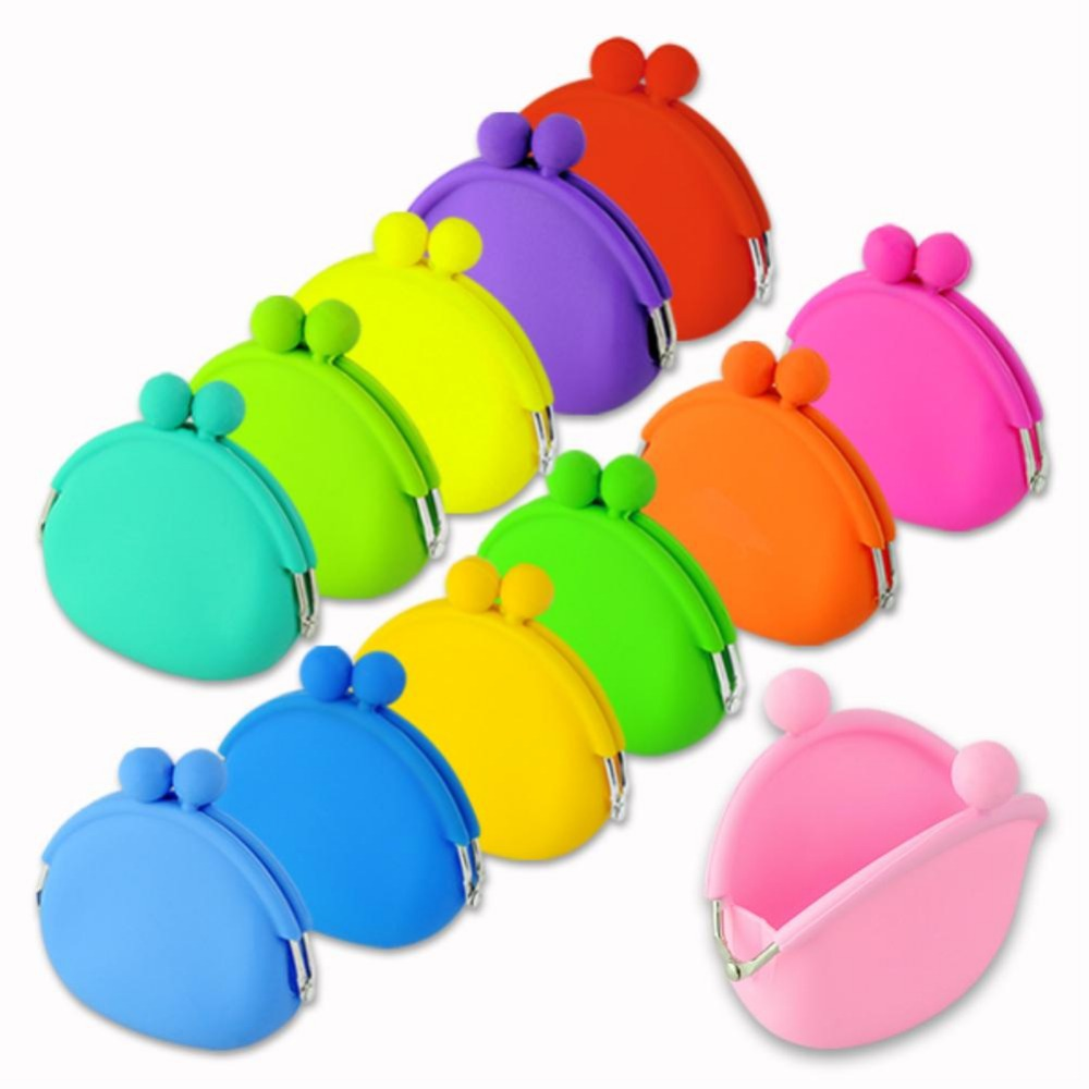 Cute Womens Girls Candy Color Silicone Wallet Key Coin Purse Rubber Pouch Case EQ6008(China (Mainland))