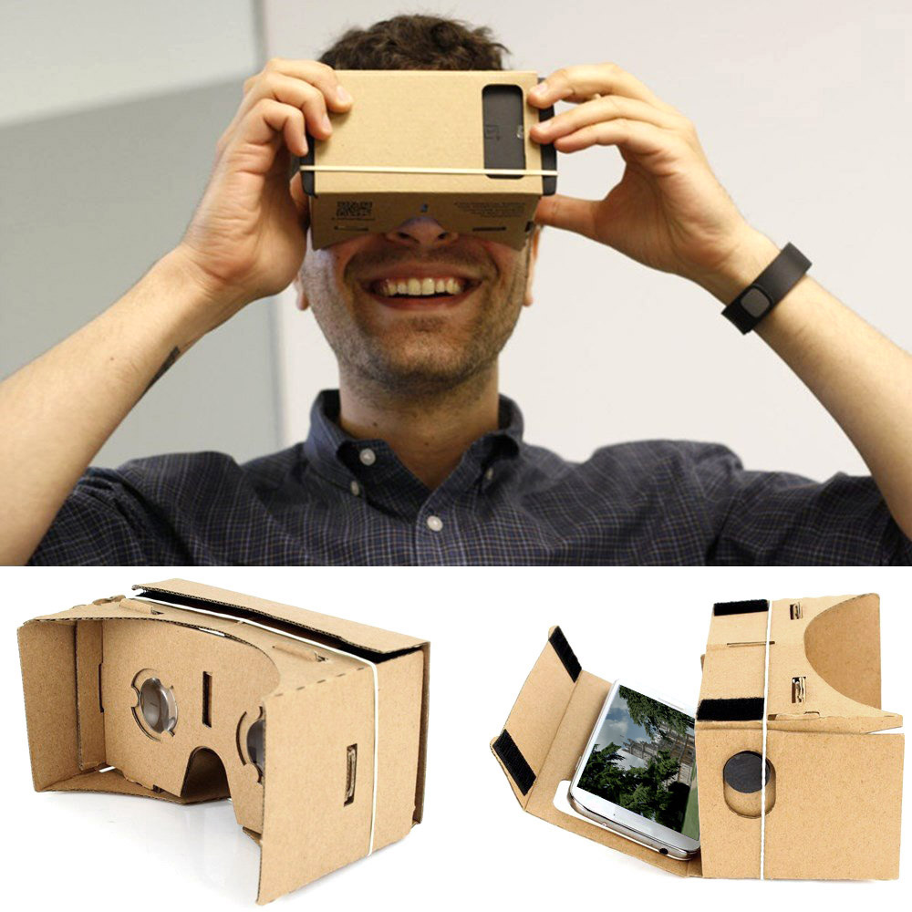 DIY google Cardboard VR Box Virtual Reality Glasses paper 3d glasses Headset 3D VR Movie Games Head-Mounted for Smart Phone(China (Mainland))