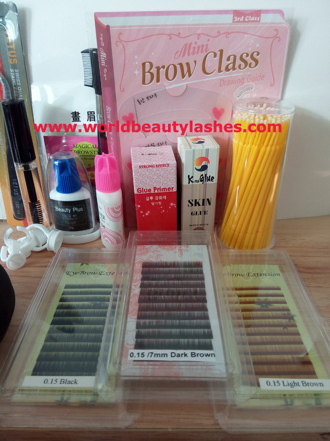 FREE SHIPPING Eyebrow Extension Kits (Clear skin glue+primer+remover+3cases eyebrow extensions+tweezer+other tools)<br><br>Aliexpress