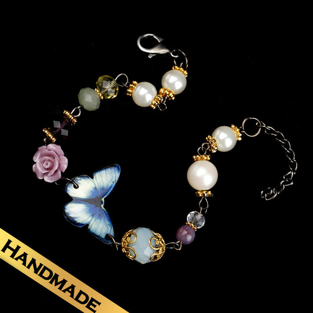 Special Bracelets Synthetic Crystal Vintage Fashion Handmade Butterfly Design Free Shipping New Style Jewelry SL13A09143
