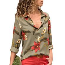 Для женщин блузки для малышек Мода 2019 г. с длинным рукавом отложной воротник офис шифоновая блузка рубашка повседневное Топы корректирующи(China)