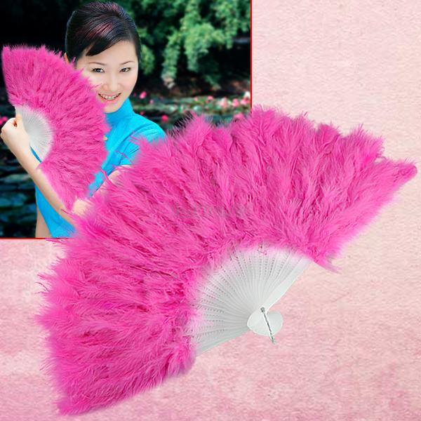 pink elegant large feather folding hand fan for wedding EN0768(China (Mainland))