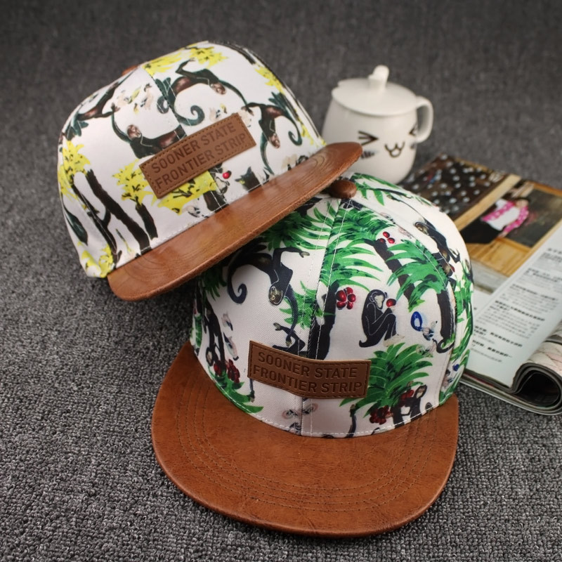 2015 design HOT SALE Fashion Snapback Hat monkey eating an apple pattern cotton material Hip Hop Baseball Cap for Men and Women(China (Mainland))