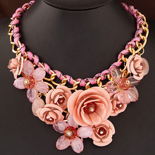 New Statement Choker Fashion Charms Collar Flower Necklace Crystal Bead Rhinestone Necklaces&Pendants Women Jewelry Gift A087(China (Mainland))