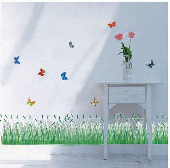 hei wand aufkleber f r kinderzimmer wandtattoo diy dekoration gras schmetterling 70x33cm. Black Bedroom Furniture Sets. Home Design Ideas
