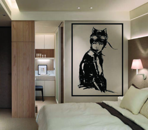 Large DC Comics Catwoman Vinyl Wall Art Mural Sticker Home Decor Living Room Free shipping(China (Mainland))