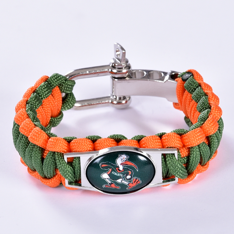 Miami Hurricanes Custom Paracord Bracelet NCAA College Football Charm Bracelet Survival Bracelet, Drop Shipping! 6Pcs/lot!(China (Mainland))