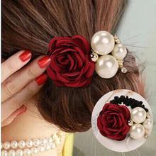 Ellegant ruban fleurs simulé perles décoration alliage élastique bandes de cheveux pour les filles chapeaux accessoires de cheveux pour les femmes(China (Mainland))