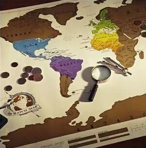 Гаджет  Free Shipping 1Piece Scratch OFF MAP Travel Scratch Map 88x52 cm World Map None Дом и Сад