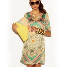 2015 Top Grade Spring Summer Fashion Casual Colorful Romantic Floral Print Brand Novelty Dress Women XXL Plus Size(China (Mainland))