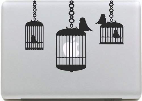 Free Bird Cage Sticker for apple macbook Decal air 11 12 13 pro 13 15 17 retina Pegatinas Computer Wall Car Stickers Vinyl Skin(China (Mainland))
