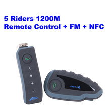 Telecomando + nfc + fm!  Fodsports 5 riders intercom bluetooth del casco del motociclo intercom cuffie 5 riders walkie talkie(China (Mainland))