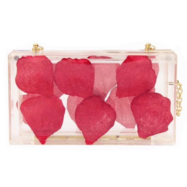 Unique acrylic clutch bag Petal Filled Transparent Clutch Bag Clear Acrylic bag S20275(China (Mainland))