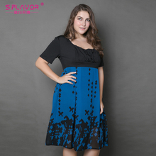 Buy Women summer patchwork dress 2017 women chiffon casual maxi size dress patchwork half sleeve square collar vestidos female for $15.02 in AliExpress store