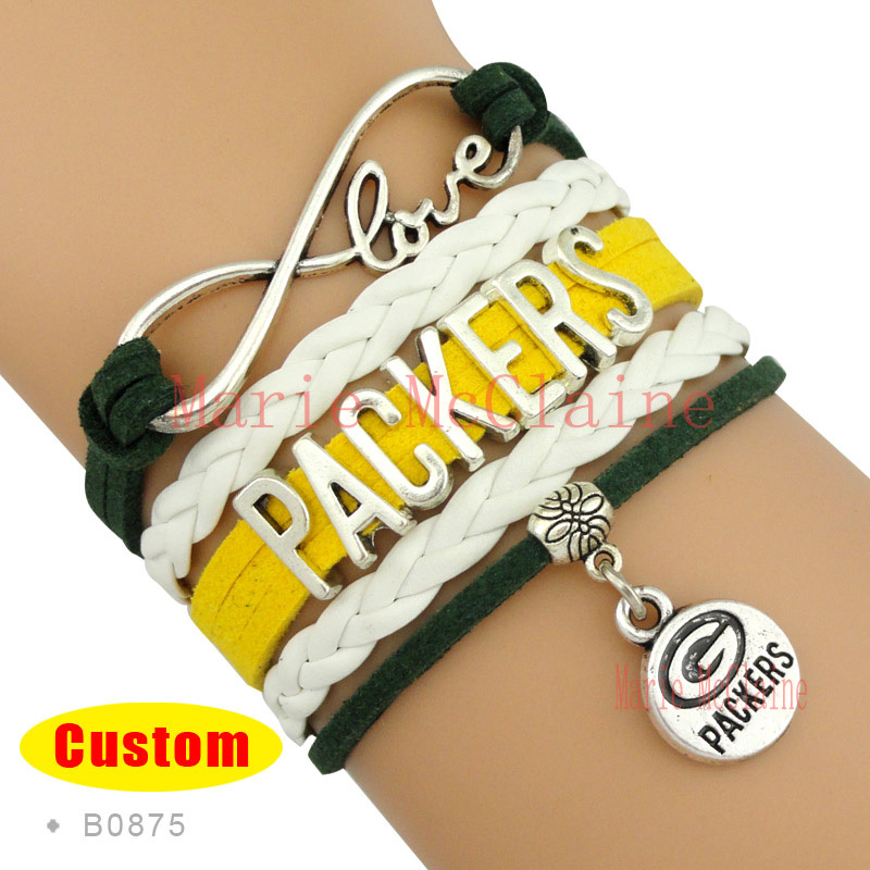 (10 Pieces/Lot) Infinity Love NFL Green Bay Packers Football Team Bracelet Green Gold White Custom Sports Bracelet Drop Shipping(China (Mainland))