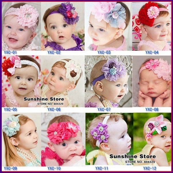 baby pearl rhinestone headbands with shabby flowers;props diamond/pearl rosset costume hairband #2B1998 10 pcs/lot(12 style)