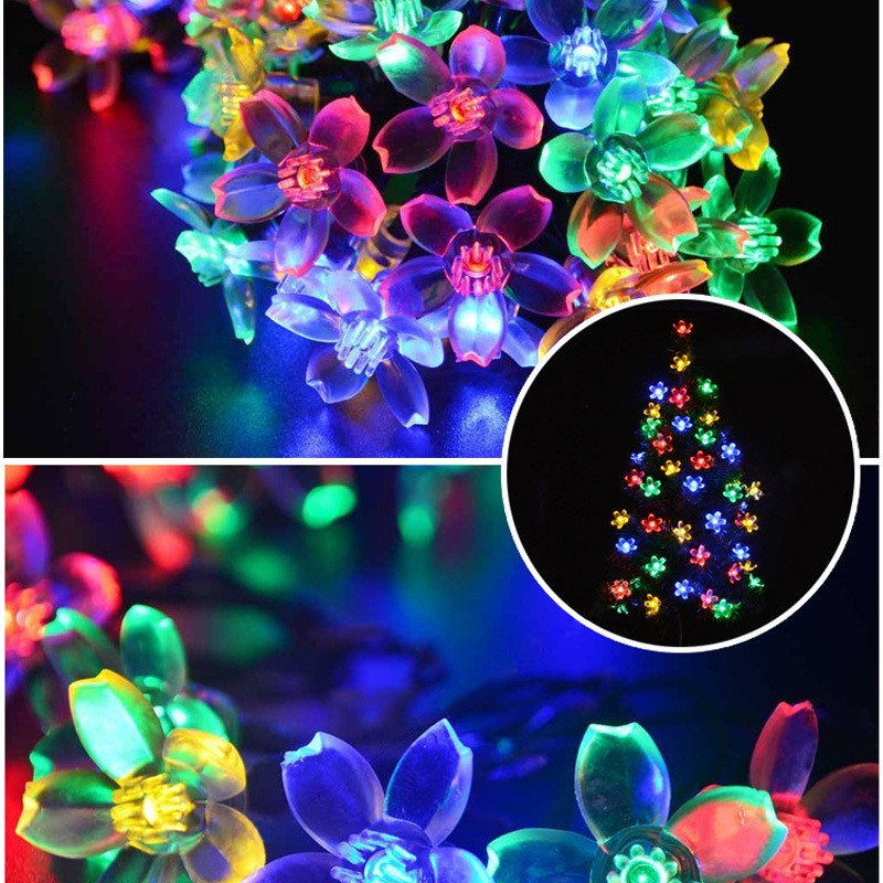 Holiday Lighting Solar Powered 7M 50 Leds Outdoor Cherry Blossoms Christams String Light Garden Solar Light Wedding Garden Lamps