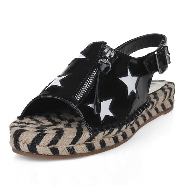 (Black, white) 2016 Summer Women Rome Back Strap Fashion Flat Sandals Full Grain Leather Mixed Colors Breathable shoes for women
