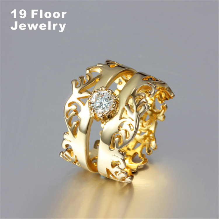 18k gold filled crown rings wholesale big gold luxury fashion rock