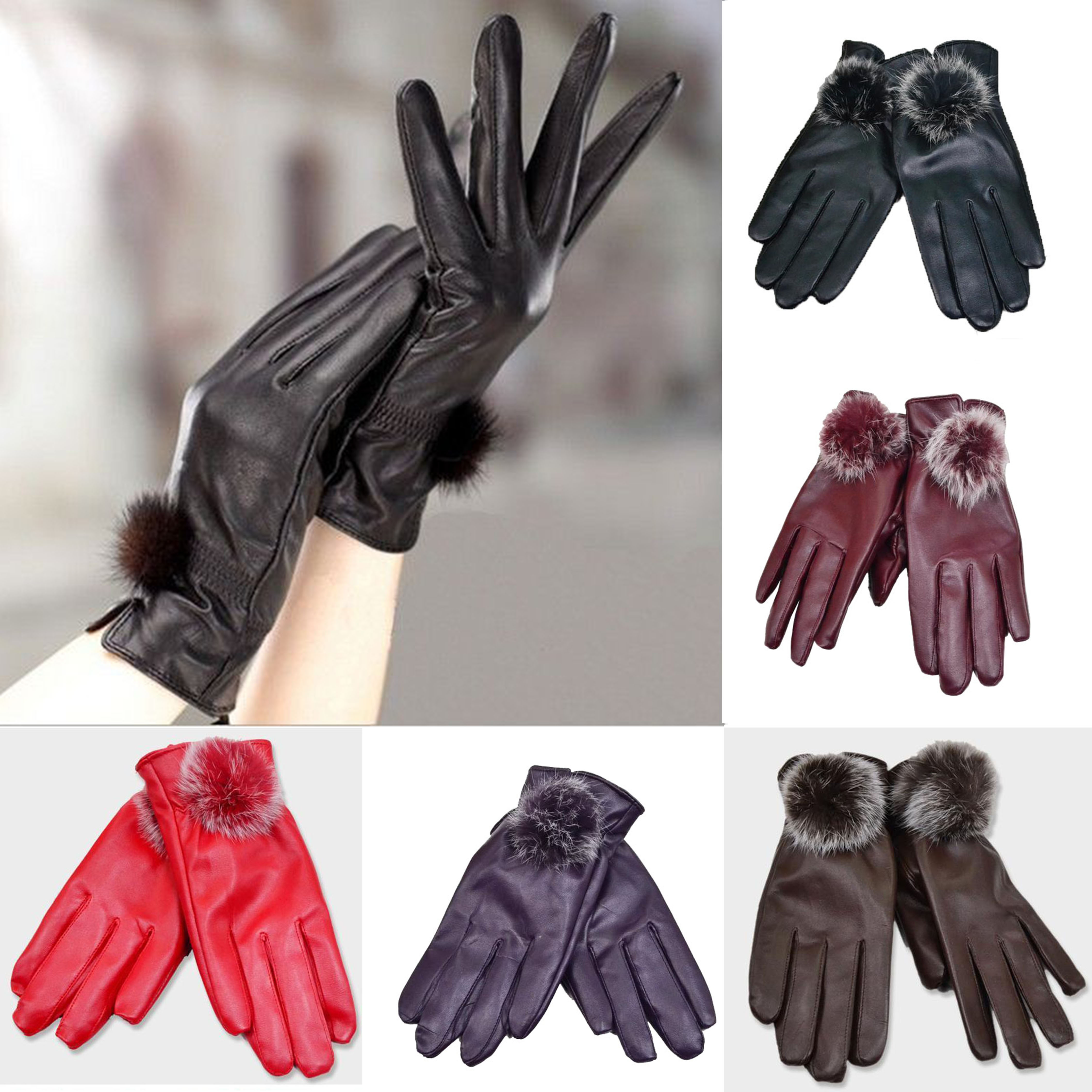 New Arrival 2016 Promotion Women Gloves Thermal Winter Glove Wrist Solid Real Genuine Leather Fashion Dressing(China (Mainland))
