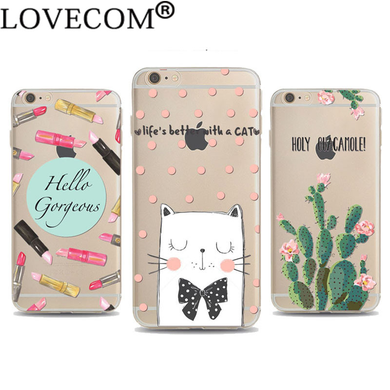 Soft TPU Phone Case For iPhone 4 4S 5C 5 5S SE 6 6S 6Plus 6SPlus Cute Pet Cat Dog Cactus Lipstick Phone Back Cover Coque(China (Mainland))