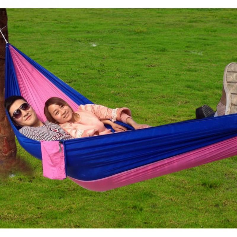 Portable Outdoor Traveling Camping Parachute Nylon Fabric Hammock for Two Person 5 Colors High Quality(China (Mainland))