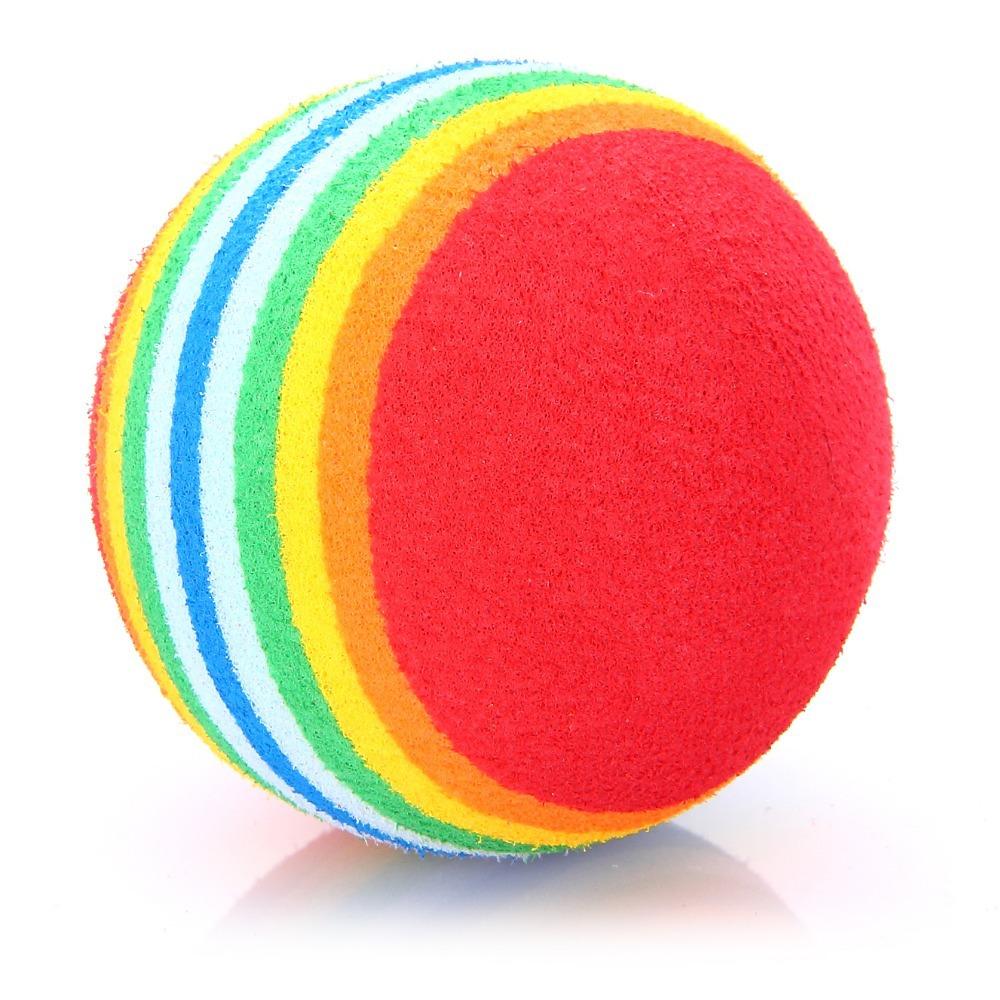 50pcs Light-weight Golf Swing Training Aids Indoor Practice Sponge Foam Rainbow Balls(China (Mainland))