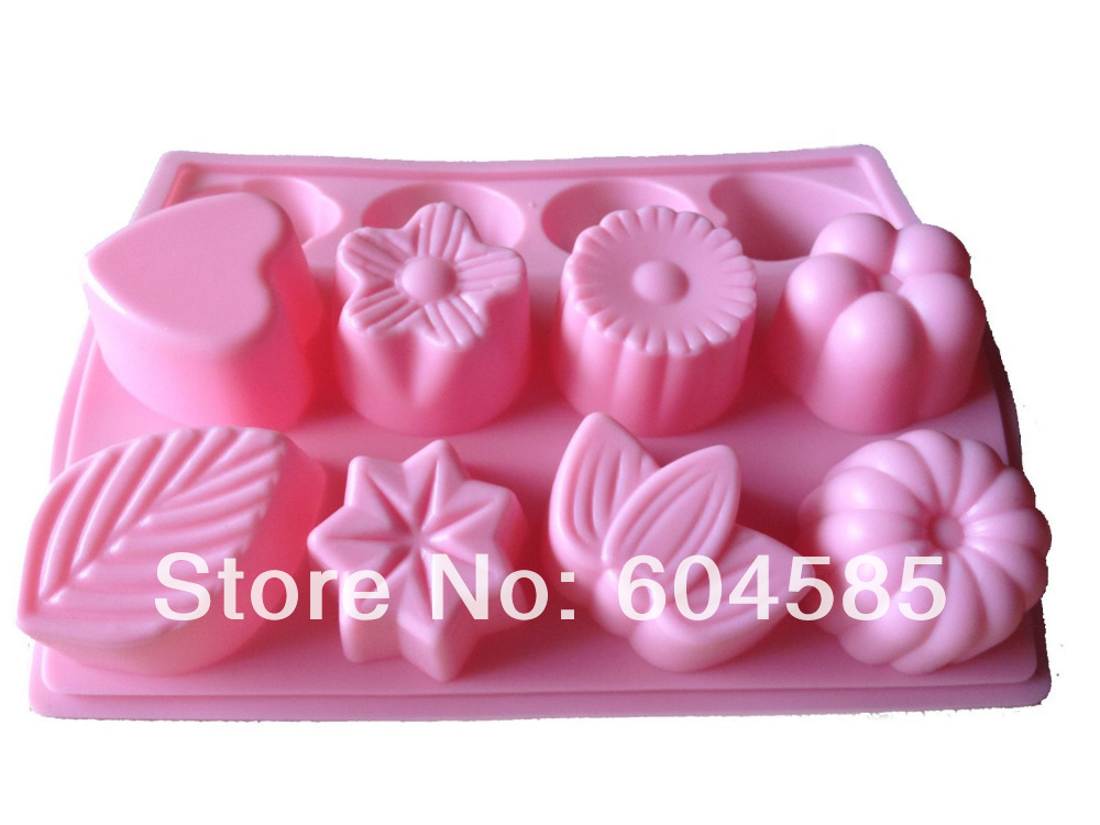 """3D DIY LARGE """" ASSORTED FLOWERS & LEAVE """" """" HEART """" SHAPE SILICONE MOULD ice cube tray for cake cookie chocolate soap making(China (Mainland))"""
