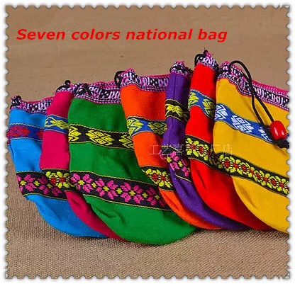 7 PCS China Yunnan Unique Color Cloth Bag,Pure Handmade Embroidery Storage Bag, National Craft Bag Color Free Shipping(China (Mainland))