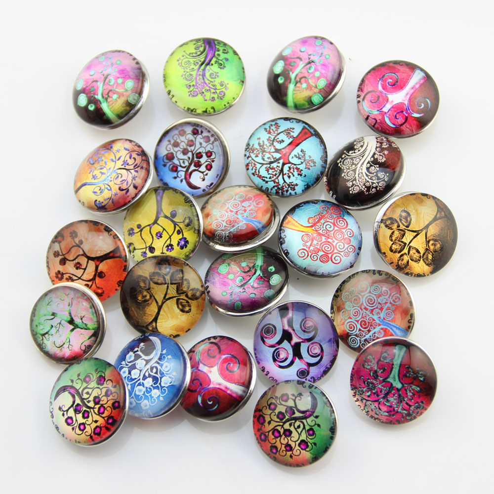 Mix 50pcs glass snap button tree 18mm snap jewelry button for ginger snap bracelet jewelry<br><br>Aliexpress