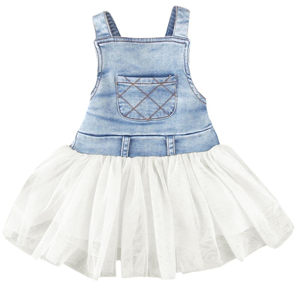 Summer Lovely Girls Tulle Dress Jeans Patchwork Tutu Dress Super Cute Party Dress SV000729 b008<br><br>Aliexpress