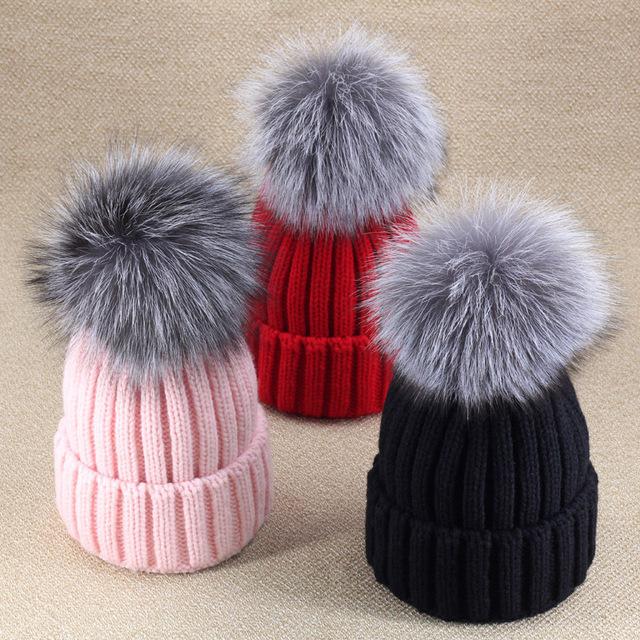 100% настоящее лисий мех зима трикотаж пом шляпа arrvals шляпы для женщины мягкий ...